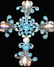 AB BLUE TEAL RHINESTONE VICTORIAN RELIGIOUS CHURCH CROSS  PIN BROOCH PENDANT