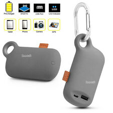 Outdoor Keychain Phone Charger 5000mAh Portable Power Bank Battery w/ Clip &USB