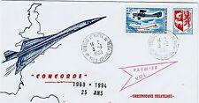 FDC-SPERSONIC CONCORDE-25 ANS-SAINT-MARTIN DU TOUCH-PREMIER VOL-3MARS 1969