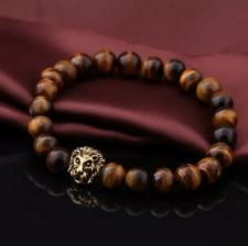 UK Gold Lion Tigers Eye Crystal Gemstone Beaded Bracelet.Will Power.Mens Ladies