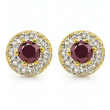 LOVELY 2/3 CARAT RUBY & (22 PCS) DIAMOND 10KT SOLID YELLOW GOLD EARRINGS