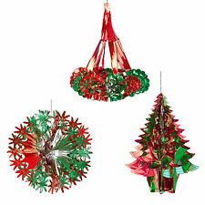 Green / Red Christmas 2 Tone Foil Ceiling Decorations - Tree Ball Chandelier Set