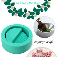 3D Round Silicone Concrete Planter Mould DIY Cement Vase Flower Pot Mold Craft