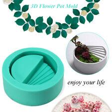 3D Round Silicone Concrete Planter Mould DIY Cement Vase Flower Pot Mold Craft