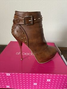 Brown Stiletto Ankle Boots With Spike Studs