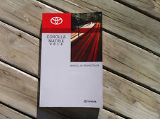 Toyota COROLLA MATRIX - 2013 - Owner's Manual - IN FRENCH - MINT