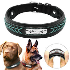 Braided Leather Personalized Dog Collar Large Engraved Nameplate German Shepherd