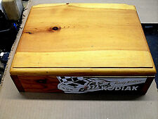 "vintage handmade hinged knotty yellow pine box,14""x 11""x 4"""