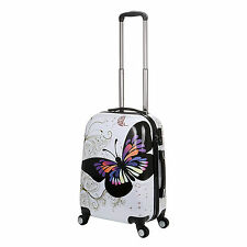 """20"""" White Butterfly 4 Wheels Spinner Suitcase PC Travel Luggage Cabin Travel Bag"""