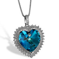 Women Full CZ Ocean Heart Made With Swarovski Element Crystal Pendant Necklace