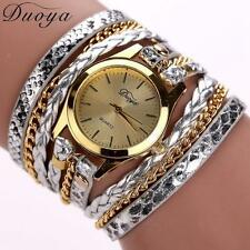 Womens Fashion Watch Alloy Dial Leather Wrapped Band Ladies Dress Analog Watches