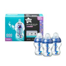 New Tommee Tippee Advanced Anti Colic Bottles with heat sensing tube 260ml 0m+