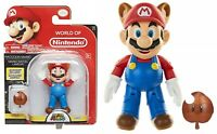 "Jakks Super Mario World of Nintendo Raccoon Mario 4"" Action Figure NEW"