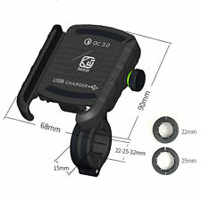 Black Aluminum Motorcycle Handlebar Phone Holder USB Charger Quick Charge QC 3.0