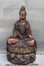 12 Buddhism Red Copper Bronze lotus flower Kwan-yin Guan Yin Boddhisattva Statue