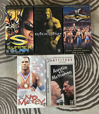 Lot of 5 Vintage WWF VHS Wrestling Tapes - Royal Rumble, No Mercy, and More!