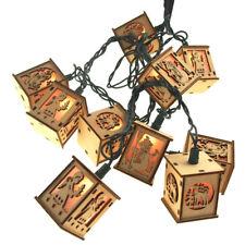 Christmas Wood Lantern 10 Lights Novelty Set, 2-Inch