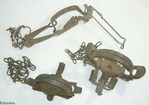 3 Vintage Animal Spring Leg Long Trap trapping hunting tool