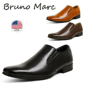 BRUNO MARC Mens Formal Business Dress Shoes Slip On Loafers Square Toe Shoes