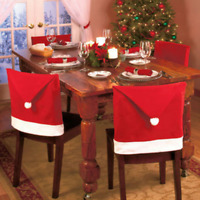 Red Santa Claus Cap Chair Back Cover Christmas Dinner Table Party Xmas Decor