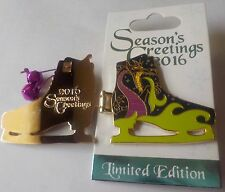 Disney Parks Pin Holiday Season's Greetings 2016 Ice Skate LE  Maleficent