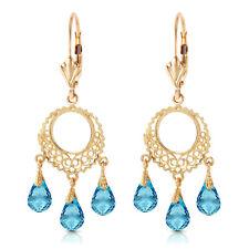 3.75 Carat 14K Solid Gold Chandelier Earrings Blue Topaz
