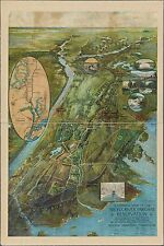 1915 BIRD'S EYE VIEW WESTCHESTER COUNTY & BRONX RIVER PARKWAY NY COPY POSTER MAP