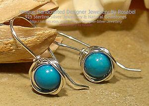 Turquoise Sterling Silver 925 Silver Earrings Handmade 0116-4