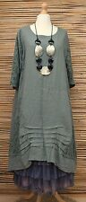 LAGENLOOK BEAUTIFUL LINEN LACE A-LINE DRESS/TUNIC**KHAKI GREEN**BUST UP TO 48""