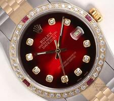 Rolex Datejust 2Tone Ruby 18k Diamond Bezel 36mm Watch-Red Vignette Diamond Dial