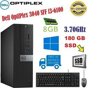 Dell OptiPlex 3040 SFF i3-6100 3.70GHz 8GB RAM 180 GB SSD, Wins 10 Pro