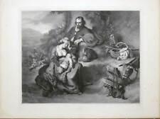 Flucht nach Ägypten-Heilige Familie - Bol-Große Lithographie-Hanfstaengl 1835-52