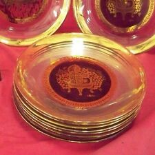 10 Cera Brand Glass Plates Gold Encrusted Swags Oriental Design For Bar Setting
