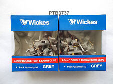 2 Pack of 50 x 2.5mm Double Twin & Earth Clips. NOTE! FOR 2 CABLES