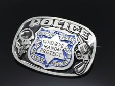 Police Serve and Protect Metal Belt Buckle Satin  men Vintage Gun Hand Cuff