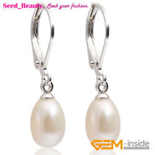 7-mm Beads Oval Silver Leverback Cultured Freshwater Pearl Drop Dangle Earrings