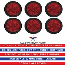"4"" Red 10 LED Round Stop Turn Tail Truck Light with Grommet & Pigtail - Qty 6"