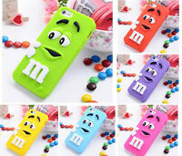 3D M&M Silicone Back Cover Skin Case for Apple iPhone 4/4s 5/5s 5C 6/6s