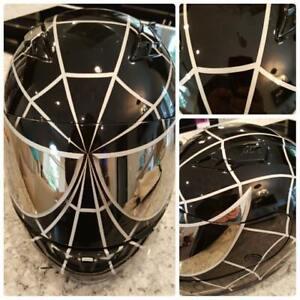 Black Spiderman Custom Painted Airbrushed Motorcycle Helmet