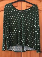 Zara Green Polka Dot Slouchy Top Limited Edition Spotty Summer Holiday Size M