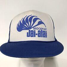 Vintage BRIDGEPORT CT JAI-ALAI Foam Mesh SnapBack TRUCKER HAT Cap Blue White