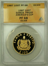 1987 Samoa America's Cup 100 Tala Proof Gold Coin ANACS PF-68 DCAM