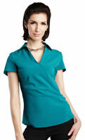 Tri-Mountain Women's V-Neck Short Cap Sleeve Woven Summer Casual T-Shirt. LB753