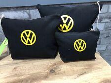 set of 3 VW 100% organic cotton wash makeup accessory bag black yellow campervan