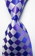 New Classic Checks Purple White JACQUARD WOVEN 100% Silk Men's Tie Necktie