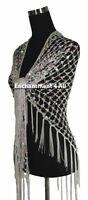 Exotic Crochet Net Triangular Shawl Wrap Belly Dance Hip Scarf w/ Sequins, White