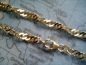 Fußkette Singapur Gold 585 Länge 27 cm x 2,5 mm,gedrehte Fußkette 27 cm Gold 585