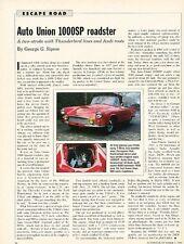Auto Union 1000SP Roadster Original Car Review Print Article J574 1958 1959 1960