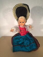 Vintage Doll 19cm Closing Opening Eyes With Original Old Dress Collectible Rare