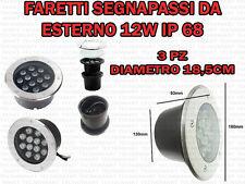 3 FARETTI INCASSO LED 12W ESTERNO/INTERNO SEGNA PASSO CALPESTABILE IP68 GIARDINO